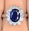 Sapphire 2.30ct And Diamond 1.00ct 18K White Gold Ring - image 4
