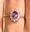 18K Gold White Diamond and Pink Sapphire Ring 0.18ct - image 4