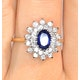 Sapphire 7 x 5mm And Diamond 0.56ct 18K Gold Ring - image 3