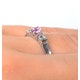 18K White Gold Diamond and Pink Sapphire Ring 0.10ct - image 4