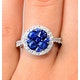 0.84ct Diamond 1.60ct Sapphire and 18K White Gold Circles Ring - image 4