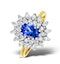 Tanzanite 7 x 5mm And 0.56ct Diamond 18K Gold Ring - image 1