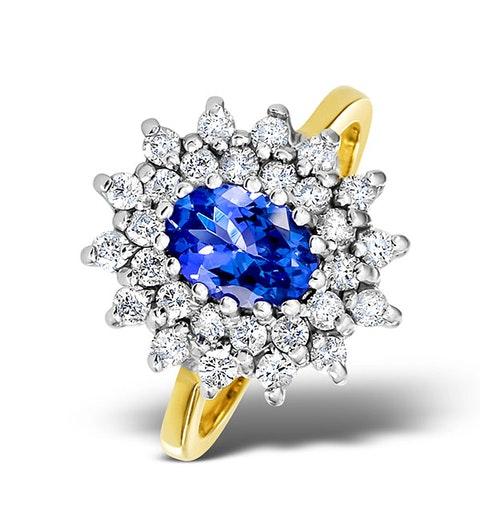Tanzanite 7 x 5mm And 0.56ct Diamond 18K Gold Ring - image 1
