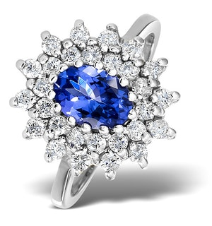 Tanzanite 7 x 5mm And Diamond 18K White Gold Ring  FET36-VY