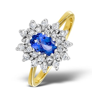 Tanzanite 6 x 4mm And Diamond 18K Gold Ring  FET34-V