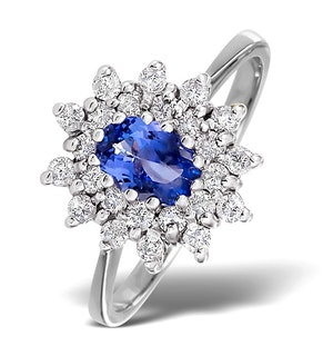 Tanzanite 6 x4mm And Diamond 18K White Gold Ring