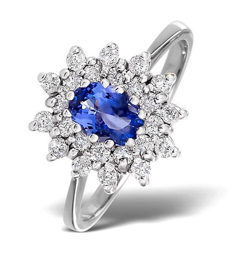 Tanzanite 6 x4mm And Diamond 18K White Gold Ring - image 1