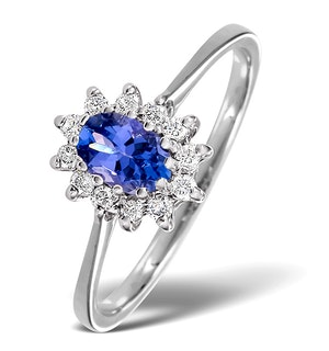 Tanzanite 6 x 4mm And Diamond 18K White Gold Ring  FET33-VY