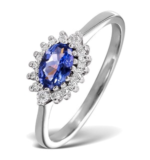 Tanzanite 6 x 4mm And Diamond 18K White Gold Ring
