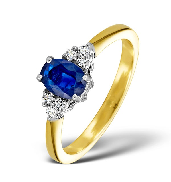 Sapphire 7 x 5mm And Diamond 18K Gold Ring - image 1