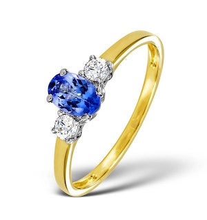 Tanzanite And 0.20CT Diamond Ring 18K Yellow Gold