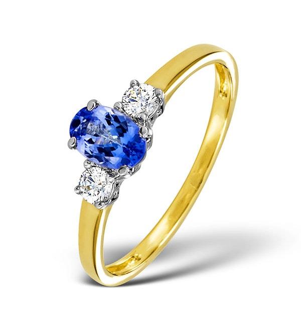 Tanzanite And 0.20CT Diamond Ring 18K Yellow Gold - image 1