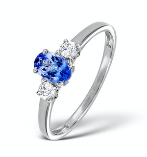 Tanzanite And 0.20CT Diamond Ring 18K White Gold