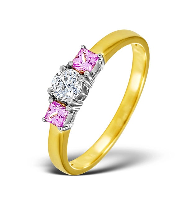 18K Gold Diamond Pink Sapphire Ring 0.33ct - image 1
