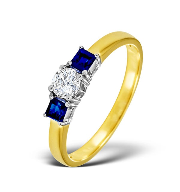 Diamond 0.33ct And Sapphire 18K Gold Ring - image 1