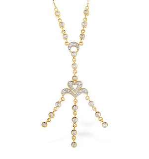 0.32ct Diamond and 9K Gold Drop Necklace - RTC-D3302