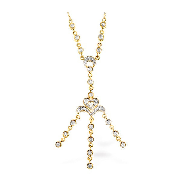 0.32ct Diamond and 9K Gold Drop Necklace - RTC-D3302 - image 1