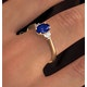 Sapphire 7 x 5mm And Diamond 18K Gold Ring - image 3
