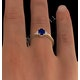 Sapphire 7 x 5mm And Diamond 18K Gold Ring - image 4