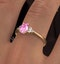 18K Gold 0.85ct Pink Sapphire and 0.12ct Diamond Ring - image 4