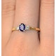 Sapphire 6 x 4mm And Diamond 18K Gold Ring  N4312 - image 3