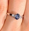Sapphire 6 x 4mm And Diamond 18K White Gold Ring - image 3