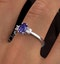 Tanzanite 7 x 5mm And Diamond 18K White Gold Ring  N4317Y - image 4