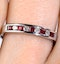 18K White Gold H/Si Diamond and Ruby Half Eternity Ring - image 2