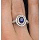 Sapphire Ring with a Diamond Halo 1ct in 18K White Gold N4523 - image 4