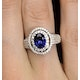 Sapphire Ring with a Diamond Halo 0.65ct in 18K White Gold N4525 - image 4