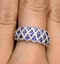 Sapphire 1.36CT  and Diamond Lattice Ring in 18K White Gold - N4539Y - image 4