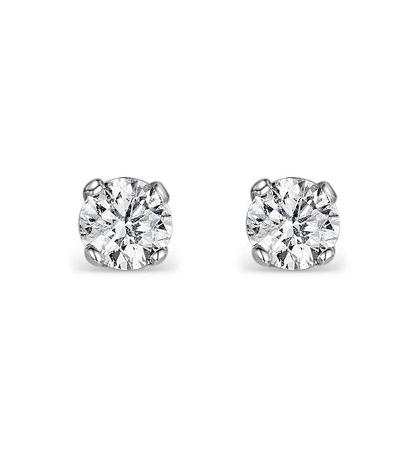 Diamond Earrings 0.15ct Studs in 9K White Gold - B3468Y - image 1