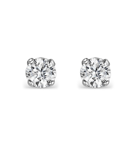 Diamond Earrings 0.15ct Studs in 9K White Gold - B3468Y - image 1