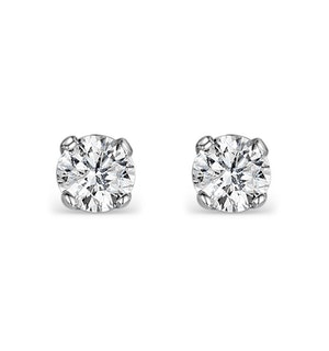 Diamond Earrings 0.20CT Studs H/SI Quality in 18K White Gold - 3mm