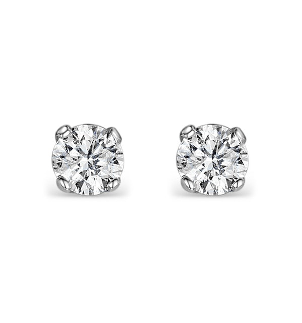 Diamond Earrings 0.20CT Studs H/SI Quality in 18K White Gold - 3mm - image 1