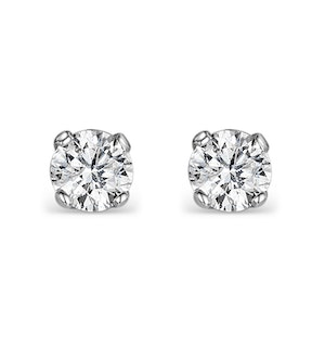 Diamond Earrings 0.30CT Studs H/SI Quality in 18K White Gold - 3.4mm