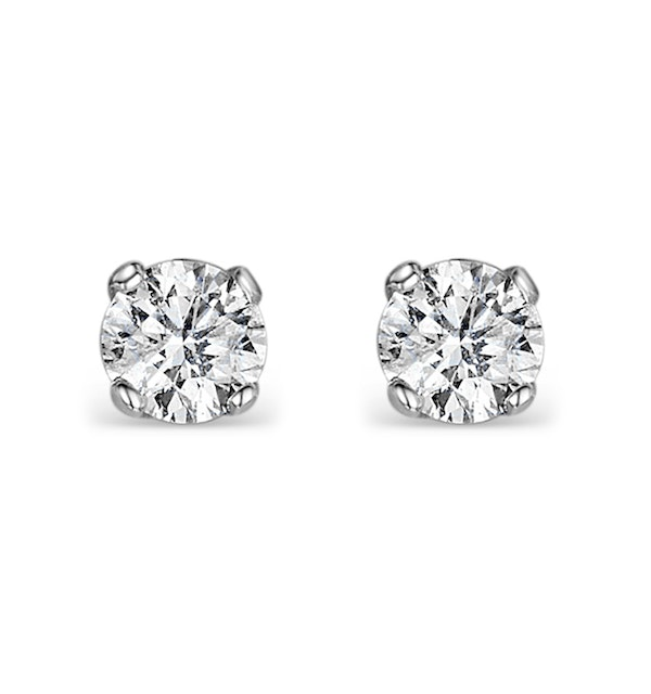 Diamond Earrings 0.30CT Studs Premium Quality in 18K White Gold 3.4mm - image 1