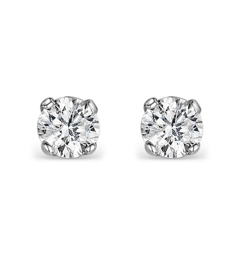 Diamond Earrings 0.25ct Studs in 9K White Gold - B3460Y - image 1