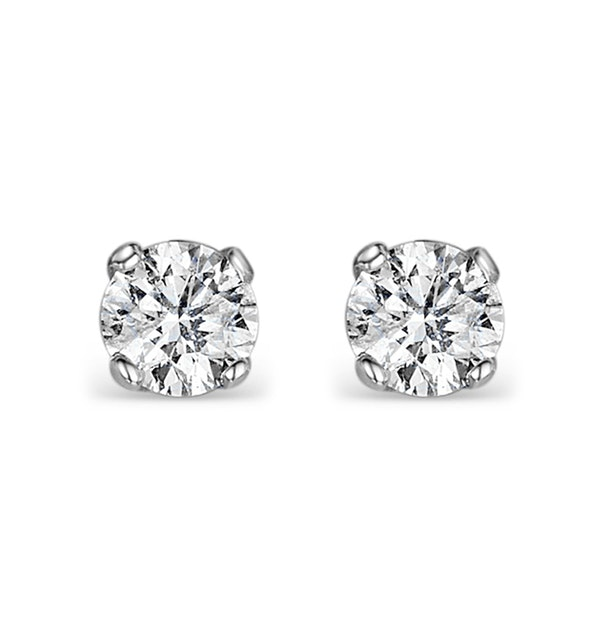 Diamond Earrings 0.40CT Studs H/SI Quality in 18K White Gold - 3.8mm - image 1