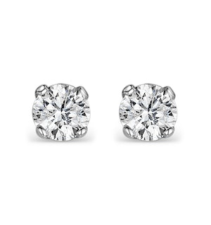 Diamond Earrings 0.50CT Studs H/SI Quality in 18K White Gold - 4.1mm