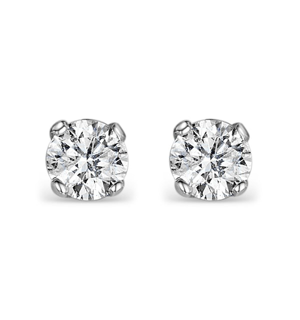 Lab Diamond Stud Earrings 0.50CT G/VS1 Quality 18K White Gold - 4.1mm - image 1