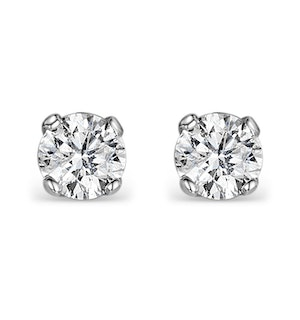 Diamond Earrings 0.66CT Studs H/SI Quality in 18K White Gold - 4.5mm