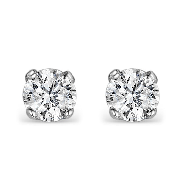 Diamond Earrings 0.66CT Studs Premium Quality 18K White Gold - 4.5mm - image 1