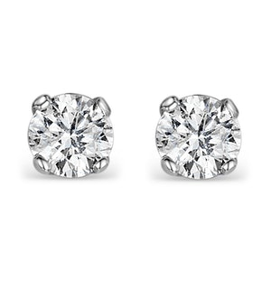 Diamond Earrings 1.00CT Studs H/SI Quality in 18K White Gold - 5.1mm