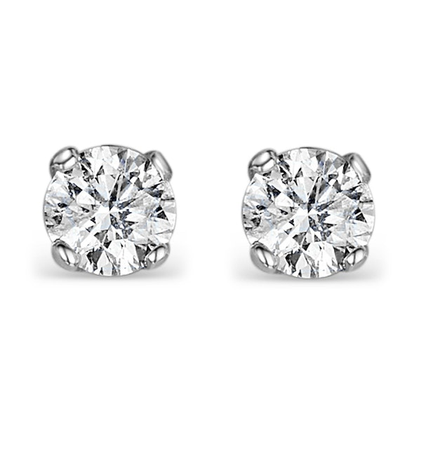 Diamond Earrings 1.00CT Studs G/Vs Quality in 18K White Gold - 5.1mm - image 1