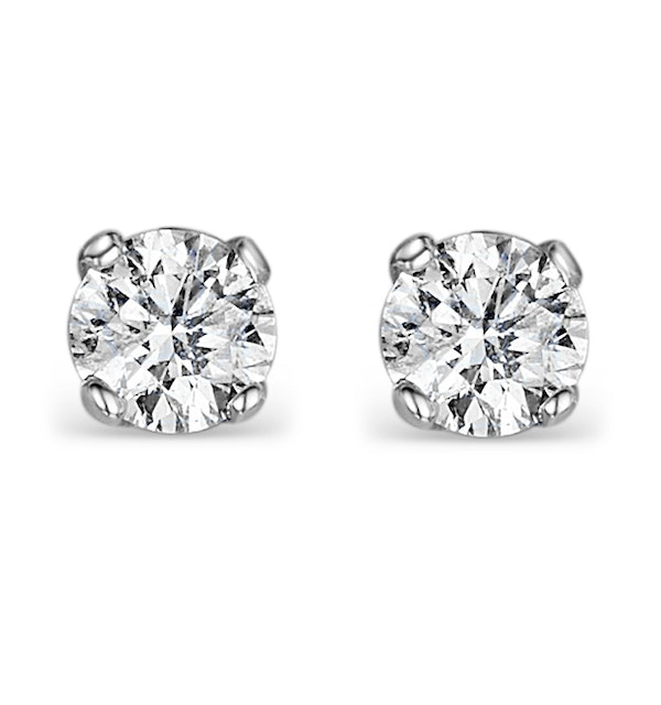 Diamond Earrings 1.00CT Studs H/SI Quality in 18K White Gold - 5.1mm - image 1