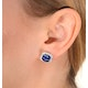 18K White Gold KEIRA 3ct Sapphire and 1ct Diamond HALO Earrings - image 4