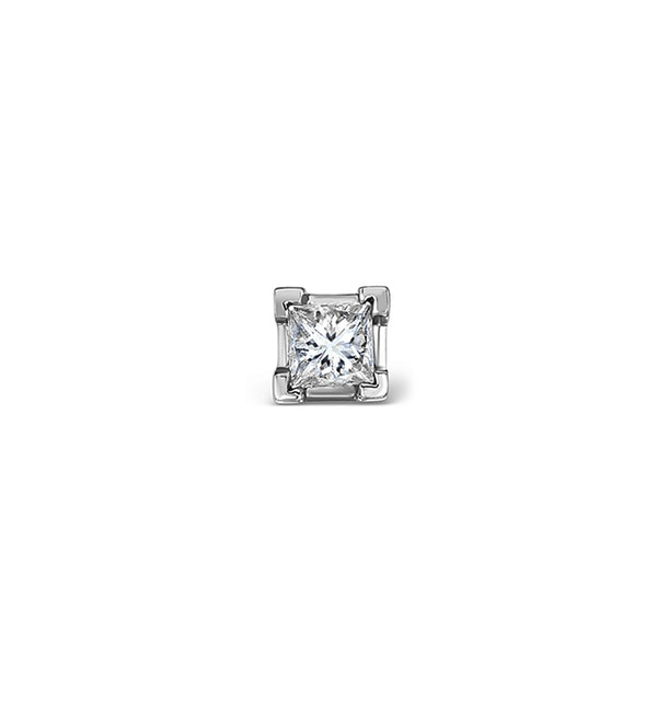 Single Stud Princess Diamond Earring 0.15ct H/Si in 18KW Gold - 3mm - image 1