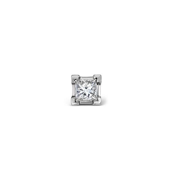 Single Stud Princess Diamond Earring 0.15ct H/Si in 18KW Gold - 3mm - image 1