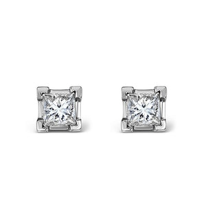 18K White Gold Princess Diamond Earrings - 0.30CT - H/SI - 3mm
